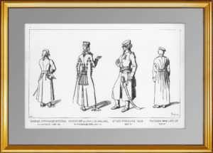 Униформа русского офицера-артиллериста и прочие. (Лист 269). Жакмин. 1869г. Антикварная гравюра