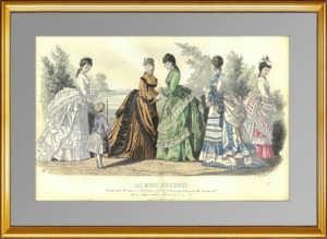 Парижская мода (N1543). 1870 г. Антикварная гравюра. ВИП подарок женщине