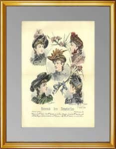 Дамские шляпки. Парижская мода. 1889 г. Антикварная гравюра. ВИП подарок женщине