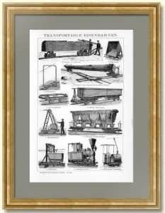 Мобильные железные дороги. 1897г. Антикварная  гравюра в подарок железнодорожнику, логисту