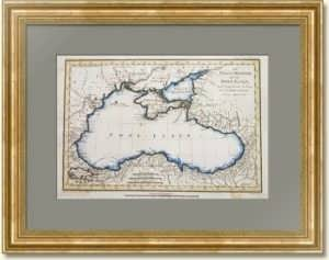 Черное и Азовское море. Крым. 1781г. Старинная карта. Акварель. Антикварный подарок