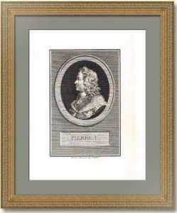 Пётр I. Портрет в профиль. 1819г. Огюстен де Сент-Обен. Антикварная гравюра, музейный экземпляр