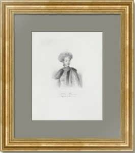 Софья Алексевна Романова. Портрет. 1838г. Антикварная гравюра.
