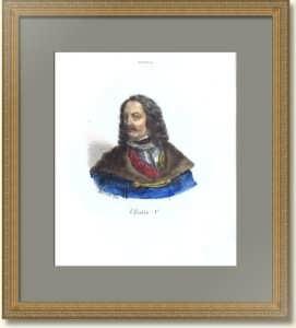 Пётр I. Портрет. 1841г. Орас Верне/Долфино. Старинная литография. Антикварный подарок