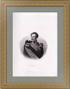 Николай I, император России. 1846г. Гравированный старинный портрет.