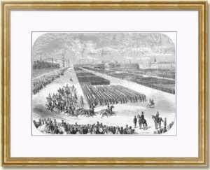 Петербург. Парад на Марсовом поле. 1858г.  Старинная гравюра - антикварный подарок
