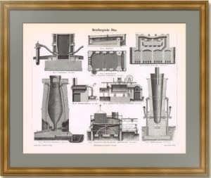 Металлургические печи. 1886г. Старинная гравюра - антикварный подарок металлургу