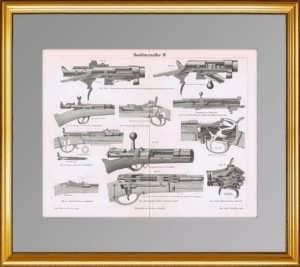 Ручное огнестрельное оружие II. 1886г. Подарок охотнику, коллекционеру оружия. Старинная гравюра