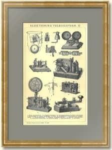 Электрический телеграф II. 1896г. Антикварная гравюра.