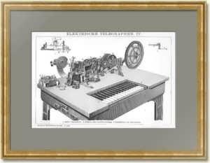 Электрический телеграф IV. 1896г. Печатающий телеграфический прибор Юза. Антикварная гравюра.