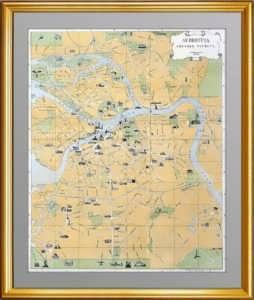 Ленинград. Схематический план центральной (исторической) части города. 1958г.