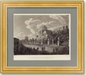 Москва. Вид Моховой и дома Пашкова. 1810г. Старинная гравюра