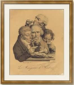 Буальи. Гурманы (Пожиратели устриц). 1825г. Музейный экземпляр. Старинная литография.