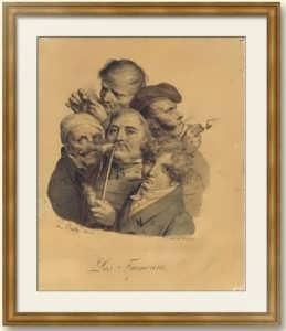 Буальи. Курильщики. 1825г. Музейный экземпляр. Старинная литография.