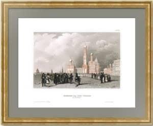 Колокольня Ивана Великого. Москва. 1848г. Викерс/Пейн. Антикварная гравюра, акварель
