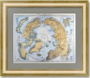 Северный морской путь и Полярный регион на антикварной карте. 1906г.