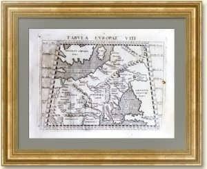 Территория России на карте XVI века. 1597г. Птолемей. Tabula Europae VIII.
