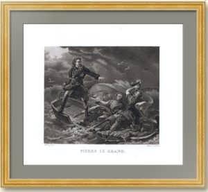 Петр I (Великий) в бурю на Ладожском озере. 1829г. Старинная гравюра - музейный экземпляр