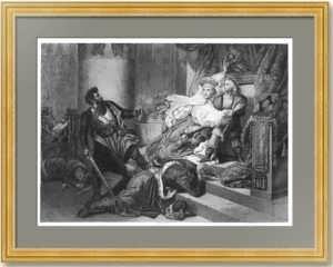 Петр I, спасаемый матерью от стрельцов. 1842г. Штейбен/Рандель. Старинная гравюра
