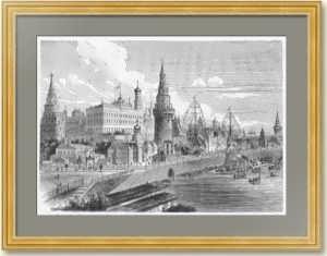 Москва. Политехническая выставка к двухсотлетию Петра I . 1872г. Старинная гравюра