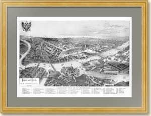 Петербург вид с высоты птичьего полёта. 1875г. Антикварная гравюра.
