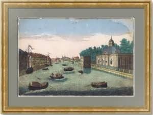 Вид реки Фонтанки от Грота и Запасного дворца. По рис. Махаева. 1750г. (ок.) Старинная гравюра