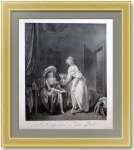 Сравнение маленьких ножек. 1791г. Старинная гравюра - музейный экземпляр