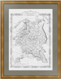 Антикварная карта роста России в Европе от Петра I. 1855г. Рапкин. Подарок патриоту