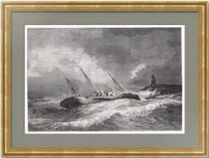 Крушение императорской яхты «Ливадия». 1878г. Похитонов/Меуль. Антикварная гравюра