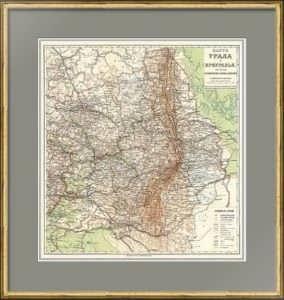Урал и Приуралье. Лист: 85x78! Старинная карта. 1914г. Семенов-Тян-Шанский