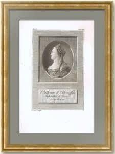 Екатерина Великая. Императрица. 1790г. (ок.) Рокотов/Тассарт. Старинная гравюра