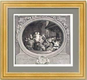 Пончики (Les Baignets). Фрагонар/Лоне 1782г. Антикварная гравюра - музейный экземпляр