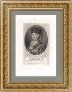 Екатерина II. Портрет. Шибанов/Бертонье. 1827г. Антикварная гравюра