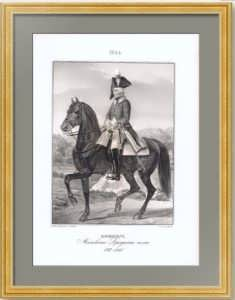 Офицер Московского драгунского полка. 1849г. Старинная оригинальная литография