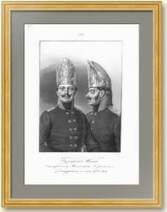 Фузилерные шапки Гренадерского полка. 1851г. Старинная оригинальная литография