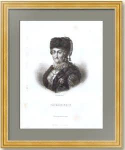 Екатерина II. Портрет. 1855г. Шибанов. Старинная гравюра - антикварный подарок