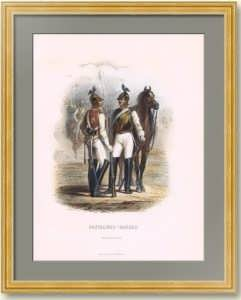 Кавалергарды Российской империи. 1855г. Aнтикварная гравюра, акварель