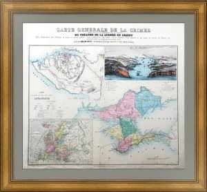 Крым и Севастополь. 1855г.  Лист 49х63. Старинная карта
