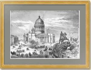 Петербург. Исаакиевский собор. 1858г. Старинная гравюра. 25x36