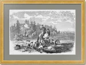 Александр II охотится на волков. 1866г. Зичи. Старинная гравюра - подарок охотнику