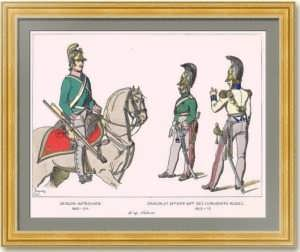 Униформа драгунов. (Лист 254). Жакмин. 1869г. Антикварная гравюра