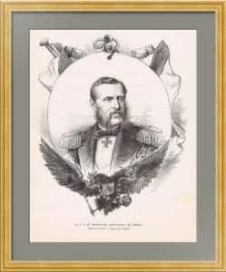 Константин Николаевич. Великий Князь. 1875г. Гравированный портрет. Бокорт