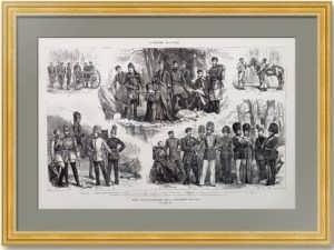 Униформа русской армии. 1877г. Старинная гравюра. 38x55