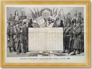 Календарь Россия-Франция на 1891 год. 57x78! Франко-русский союз. Старинная гравюра