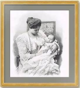Александра Фёдоровна Романова с дочерью Анастасией. 1901г. Оригинальная гравюра по Левицкому