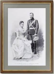 Николай II с Александрой Фёдоровной. 1901г. 58x40. Ягельский/Тириат. Старинная гравюра