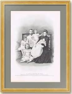 Романовы. Семейный портрет. 1901г. 39x30. Оригинальная гравюра по Левицкому