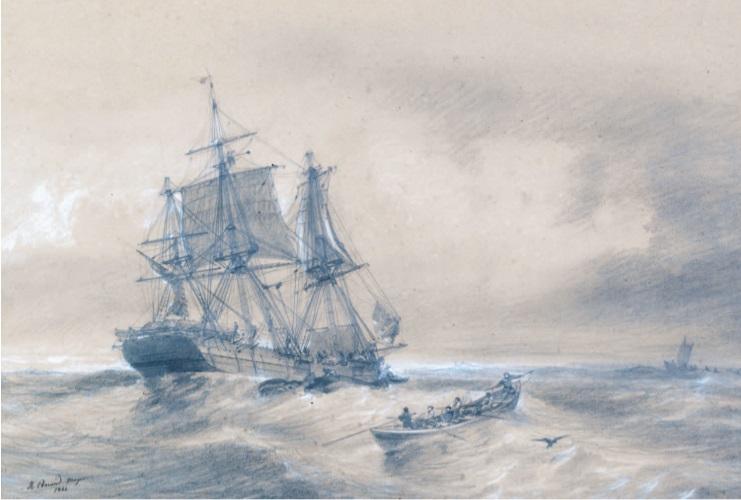 Морской этюд N15. Дюран-Браже. 1844г. Редкость! Старинная морская литография