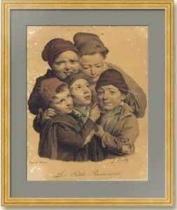 Маленькие трубочисты. Буальи. 1825г. Музейный экземпляр. Старинная литография.