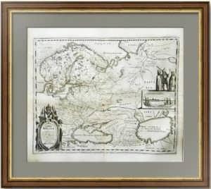 Карта России по рисунку Годунова. Мериан. 1646г. Роскошный антикварный VIP подарок